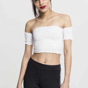 gesmokte crop top wit