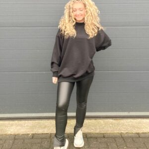 leather look legging met split