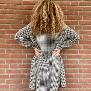 geblokte oversized blouse