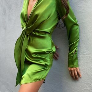 silky dress groen