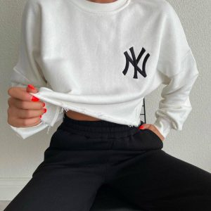 Cropped sweater donna wit